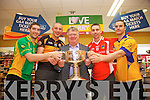 Killian Young, Kieran Donaghy, Tomas Garvey, Marc O'Se and Patrick Curtin pictured at the launch of the Kerry Senior Football Championship sponsored by Garveys Supervalu at Garveys Rock Street Tralee on Monday.
