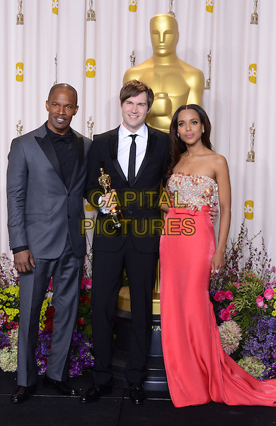 Jamie Foxx, Shawn Christensen, Kerry Washington.85th Annual Academy Awards held at the Dolby Theatre at Hollywood & Highland Center, Hollywood, California, USA..February 24th, 2013.pressroom oscars full length strapless embellished jewel encrusted silver gold pink black blue suit award trophy winner.CAP/ADM/RE.©Russ Elliot/AdMedia/Capital Pictures.