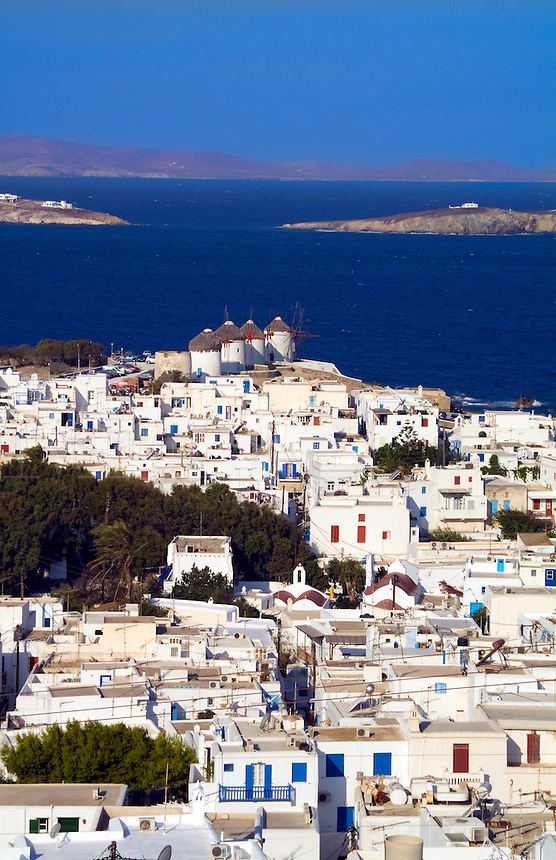 Beautiful island of Mykonos Greece central city from above with white buildings
