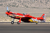 Dan Martin taxies Dago Red after finishing second in the 2008 Unlimited Gold Championship race at the 2008 Reno Championship Air Races. Martin piloted the highly modified North American P-51D to a second place finish with a speed of 474.305 MPH over the 66.99 mile course.