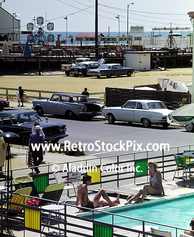 Impala Motel, Ocean City NJ. Pool with a view of the boardwalk. 1950's.