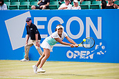 June 14th 2017, Nottingham,  England; WTA Aegon Nottingham Open Tennis Tournament day 5;  Kurumi Nara of Japan reaches for a backhand