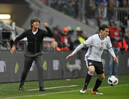 29.03.2016. Munich, Germany. International soccer match between Germany and Italy, at the Allianz Arena in Munich.  Trainer Joachim Low (Ger) in a Rage.
