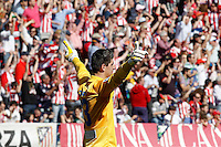 Atletico de Madrid's Thibaut Courtois celebrates goal during La Liga match.April 14,2013. (ALTERPHOTOS/Acero)