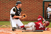 NASHVILLE, TENNESSEE-Feb. 27, 2011:  Lonnie Kauppilla is tagged out at home during the game at Vanderbilt.  Stanford defeated Vanderbilt 5-2.
