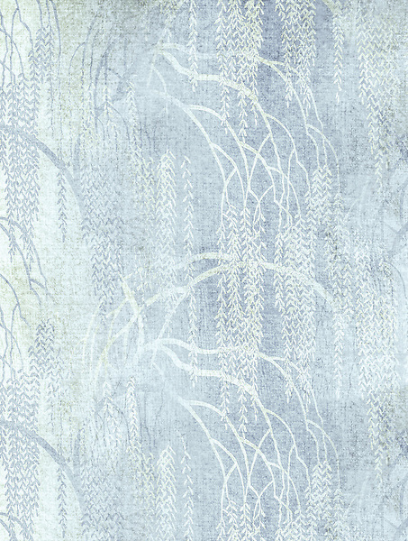 Weeping Willow, a waterjet and hand-cut Jewel glass mosaic, shown in Alabaster, Moonstone, and Opal,  designed by Kevin O'Brien, is part of the Broad Street collection for New Ravenna.
