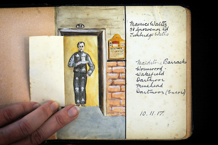 MARTEN WW1 CASE STUDY. COLLECTS OF HOWARD C MARTEN, CONSCIENTIOUS OBJECTOR. CARTOONS AND MESSAGES OF SUPPORT DRAWN BY FELLOW CO PRISONERS.