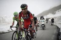 fellow Colombians John Darwin Atapuma (COL/BMC) & Rigoberto Uran (COL/Cannondale) side by side up the snow-covered Colle dell'Agnello (2744m)<br /> <br /> stage 19: Pinerolo(IT) - Risoul(FR) 162km<br /> 99th Giro d'Italia 2016