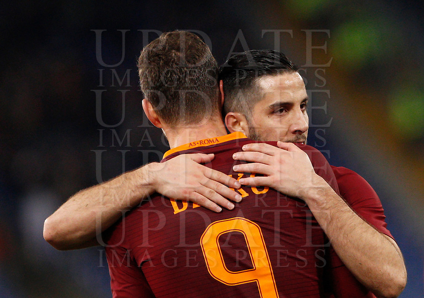 Calcio, Serie A: Roma vs Fiorentina. Roma, stadio Olimpico, 7 febbraio 2017.<br /> Roma's Edin Dzeko, left, celebrates with teammate Kostas Manolas after scoring during the Italian Serie A soccer match between Roma and Fiorentina at Rome's Olympic stadium, 7 February 2017.<br /> UPDATE IMAGES PRESS/Riccardo De Luca