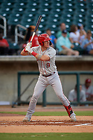 Chattanooga Lookouts Tyler Stephenson (9) at bat during a Southern League game against the Birmingham Barons on July 24, 2019 at Regions Field in Birmingham, Alabama.  Chattanooga defeated Birmingham 9-1.  (Mike Janes/Four Seam Images)