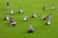 Members of the Atlanta Braves stretch together during Spring training at the Disney World of Sports Complex in Orlando, Florida..