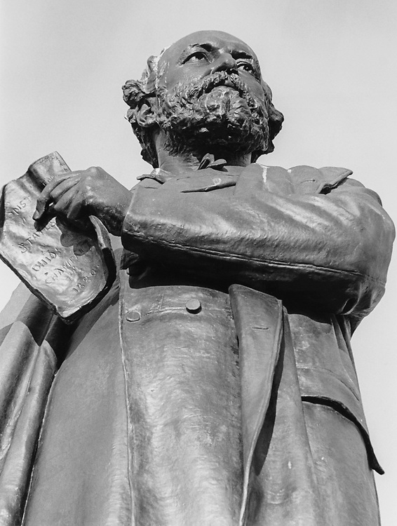 President James A. Garfield statue at the base of, on Capitol Hill, West Front in March 1996. (Photo by Rebecca Roth/CQ Roll Call via Getty Images)
