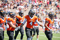The Occidental Tigers football team plays against Willamette University in Jack Kemp Stadium on Saturday, Sept. 15, 2018. It was their first home game of the season and second game of the season. Willamette won, 25-6.<br /> (Photo by Marc Campos, Occidental College Photographer)