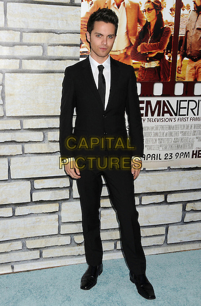 "THOMAS DEKKER .HBO Films' ""Cinema Verite"" Los Angeles Premiere held at Paramount Studios, Los Angeles, California, USA,.11th April 2011..full length black suit tie white shirt .CAP/ADM/BP.©Byron Purvis/AdMedia/Capital Pictures."