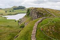 Northumberland,  England, UK.  Looking toward Peel Crags, Hadrian's Wall (Pennine Way) Footpath.