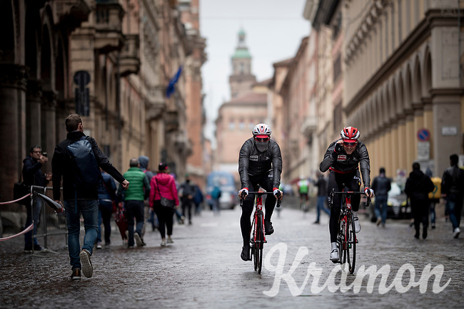 Tosh Van der Sande (BEL/Lotto-Soudal) & an unidentified rider (possibly Thomas de Gendt) on their way to a rainy start in Bologna<br /> <br /> Stage 2: Bologna to Fucecchio (200km)<br /> 102nd Giro d'Italia 2019<br /> <br /> ©kramon