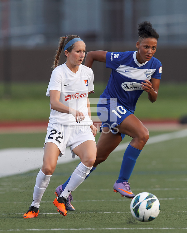 Sky Blue FC midfielder Manya Makoski (22) passes back to goalkeeper and Boston Breakers forward Lianne Sanderson (10) responds. In a National Women's Soccer League (NWSL) match, Boston Breakers (blue) defeated Sky Blue FC (white), 3-2, at Dilboy Stadium on June 30, 2013.