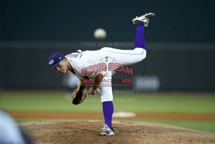 Winston-Salem Dash relief pitcher Jacob Lindgren (28) delivers a pitch to the plate against the Lynchburg Hillcats at BB&T Ballpark on August 1, 2019 in Winston-Salem, North Carolina. The Dash defeated the Hillcats 9-7. (Brian Westerholt/Four Seam Images)