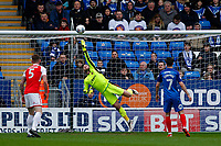Chris Neal of Fleetwood Town is full stretch for the shot during the Sky Bet League 1 match between Peterborough and Fleetwood Town at London Road, Peterborough, England on 28 April 2018. Photo by Carlton Myrie.