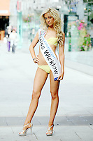 17/9/2010. Miss Ireland contestants. Miss Wicklow Holly Elliott is pictured at St Stephens Green. the 35 Miss Ireland contestants officially unveiled in their swimwear and sashes for the 1st time at Stephen's Green Shopping Centre,  Dublin. Picture James Horan/Collins Photos