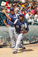 Pensacola Blue Wahoos pitcher Keyvius Sampson (32) warms up in the bullpen prior to the game against the Jacksonville Suns at Bragan Field on the Baseball Grounds of Jacksonville on May 11, 2015 in Jacksonville, Florida. Jacksonville defeated Pensacola 5-4. (Robert Gurganus/Four Seam Images)