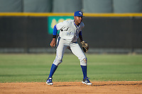 Bluefield Blue Jays shortstop Jesus Severino (33) on defense against the Burlington Royals at Burlington Athletic Stadium on June 26, 2016 in Burlington, North Carolina.  The Blue Jays defeated the Royals 4-3.  (Brian Westerholt/Four Seam Images)