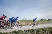 peloton led by Zdenek Stybar (CZE/Quick Step Floors) racing over the newly added gravel roads around Ploegsteert, called 'Plugstreets'<br /> <br /> 79th Gent-Wevelgem 2017 (1.UWT)<br /> 1day race: Deinze › Wevelgem - BEL (249km)