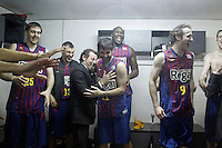 FC Barcelona Regal's President Ssandro Rosell celebrates the victory in the Spanish Basketball King's Cup Final match with Erazem Lorbek, Sarunas Jasikevicius, Juan Carlos Navarro, Nathan Jawai and  Marcelinho Huertas.February 07,2013. (ALTERPHOTOS/Acero)