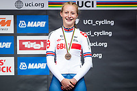 Picture by Alex Whitehead/SWpix.com - 24/09/2018 - Cycling - UCI 2018 Road World Championships - Innsbruck-Tirol, Austria - Junior Women's Individual Time Trial - Elynor Backstedt of Great Britain wins a Bronze medal.