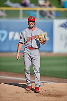 Memphis Redbirds starting pitcher Kevin Herget (16) throws before the game against the Salt Lake Bees at Smith's Ballpark on July 24, 2018 in Salt Lake City, Utah. Memphis defeated Salt Lake 14-4. (Stephen Smith/Four Seam Images)