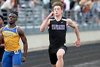 Waunakee's Sawyer Maly (right) passes Madison West's Kelvin Opoku-Appoh in the 100 meter dash during the Wisconsin WIAA Division 1 high school track and field regional on Monday, 5/20/19 at Middleton High School. Maly finishes first with a time of 11.06 seconds, and Opoku-Appoh takes second in 11.11 seconds.