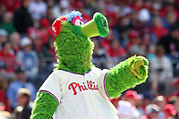 Philadelphia Phillies mascot Phillie Phanatic during their home opener against the Miami Marlins at Citizens Bank Park on April 9, 2012 in Philadelphia, Pennsylvania.  Miami defeated Philadelphia 6-2.  (Mike Janes/Four Seam Images)