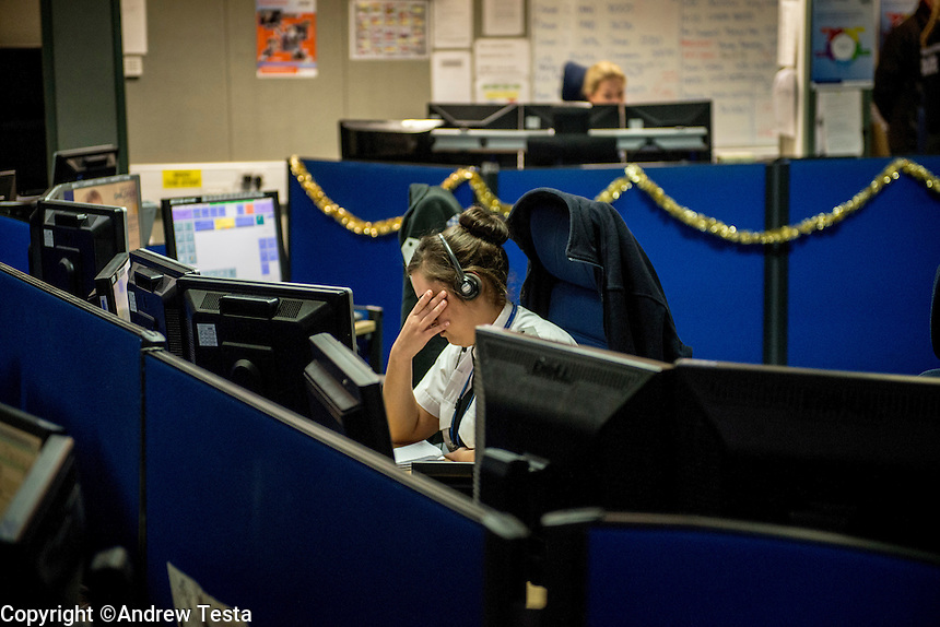 UK. Northampton. 7th December 2013<br /> A police control room in northampton.<br /> &copy;Andrew Testa for the New York Times