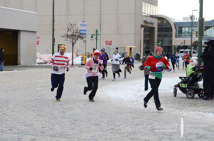 The 2013 Rondy Frostbite Footrace was held in downtown Anchorage, Alaska.