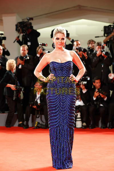 Ashley Benson.The 'Spring Breakers' Premiere during The 69th Venice Film Festival at the Palazzo del Cinema, Venice, Italy.September 5th, 2012 .full length blue strapless dress hands on hips.CAP/IPP/GR.©Gianluca Rona/IPP/Capital Pictures.