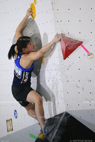 Miwa Oba (JPN),<br /> APRIL 23, 2016 - Sports Climbing : <br /> IFSC Climbing World Cup - Bouldering Kazo 2016 <br /> Women's Qualification <br /> at Kazo Civic Gymnasium, Saitama, Japan. <br /> (Photo by Shingo Ito/AFLO SPORT)