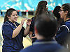 Bailey Lubrano of St. Dominic, left, gets congratulated after rolling a strike in the CHSAA girls' bowling championship against St. John the Baptist at Farmingdale Lanes on Thursday, Feb. 4, 2016. She bowled a 204 in her first game to lead St. Dominic to victory.