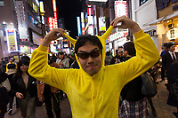 A Japanese man dressed as Pikachu (Pokemon Monster) enjoys the Halloween celebrations in Shibuya. Saturday October 28th 2017