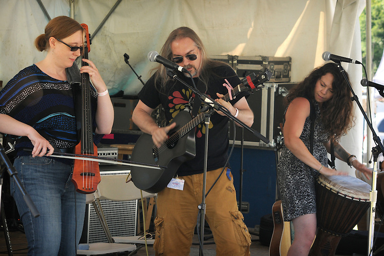 Kristen Jones, Rob Hinkal and Heather Aubrey Lloyd, of, the  ilyAIMY Band, performing on the Workshop Stage of the Falcon Ridge Folk Festival, held on Dodd's Farm in Hillsdale, NY on Sunday, August 2, 2015. Photo by Jim Peppler. Copyright Jim Peppler 2015.