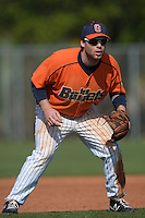 Gettysburg Bullets third baseman Nate Simon (34) during the first game of a doubleheader against the Edgewood Eagles at the Lee County Player Development Complex on March 10, 2014 in Fort Myers, Florida.  Gettysburg defeated Edgewood 3-2.  (Mike Janes/Four Seam Images)