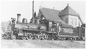 RGS 4-6-0 #20 at Ridgway depot with Rocky Club excursion train.<br /> RGS  Ridgway, CO  Taken by Kindig, Richard H. - 5/30/1947