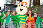 Marty the Squiller with l-r: Marian Wilson, Suzanne Lane, Shauna Dobbins and Emer O'Sullivan at the Killarney St Patricks Day parade on Sunday....