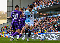 Blackburn Rovers' Ben Brereton battles with Stoke City's Tom Edwards<br /> <br /> Photographer Alex Dodd/CameraSport<br /> <br /> The EFL Sky Bet Championship - Blackburn Rovers v Stoke City - Saturday 6th April 2019 - Ewood Park - Blackburn<br /> <br /> World Copyright © 2019 CameraSport. All rights reserved. 43 Linden Ave. Countesthorpe. Leicester. England. LE8 5PG - Tel: +44 (0) 116 277 4147 - admin@camerasport.com - www.camerasport.com