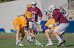Costa Mesa, CA 03/08/14 - Marcus Egeck (LMU #9), Jonathon Gonzalez (LMU #2), Blake Samuel (UCSB #6) and Sam Simmons (UCSB #1) in action during the MCLA Loyola Marymount vs UC Santa Barbara men's lacrosse game as part of the 2014 Pacific Shootout.  UCSB defeated LMU 12-7 at Le Bard Stadium.
