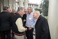 Larry Layne '71<br /> Occidental College alumni, staff and other members of the Oxy community gather in support of the football program, March 10, 2018 on Branca Patio.<br /> In January 2018 a 16-member task force of trustees, faculty, students, staff and alumni met to determine the fate of the football program in the wake of the premature end of the 2017 season. The College is moving full speed ahead with preparations for the 2018 season, led by the Football Action Team.<br /> (Photo by Marc Campos, Occidental College Photographer)