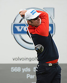 15.10.2014. The London Golf Club, Ash, England. The Volvo World Match Play Golf Championship.  Day 1 group stage matches.  Mikko Ilonen [FIN] tee shot on the first hole in his match against  Joost Luiten [NED] .