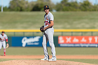 Surprise Saguaros relief pitcher Conner Greene (90), of the St. Louis Cardinals organization, gets ready to deliver a pitch during an Arizona Fall League game against the Mesa Solar Sox at Sloan Park on November 15, 2018 in Mesa, Arizona. Mesa defeated Surprise 11-10. (Zachary Lucy/Four Seam Images)