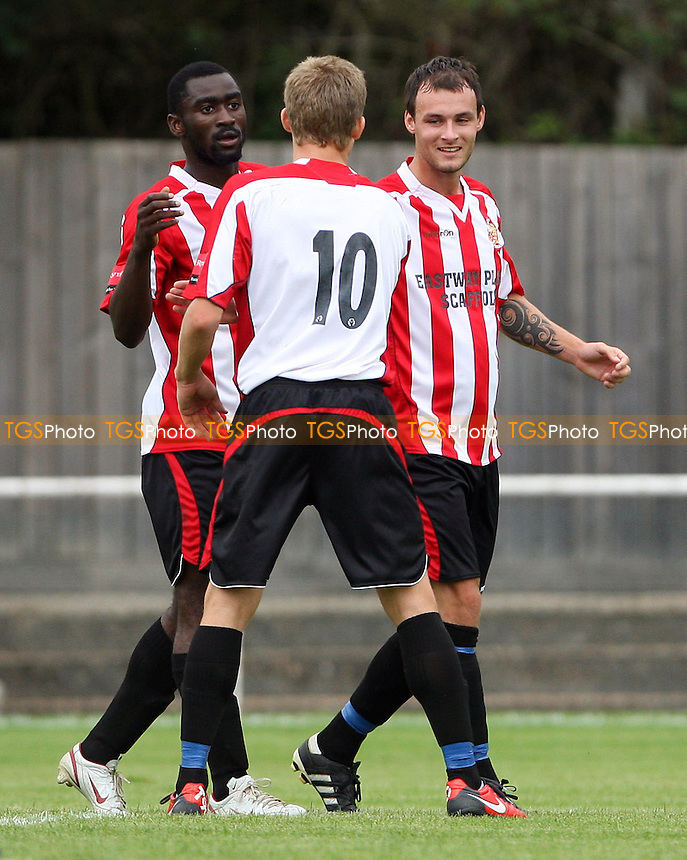 Martin Tuohy is congratulated after scoring his 2nd goal for Hornchurch - AFC Hornchurch vs West Ham United XI, Pre-Season Friendly at Hornchurch Stadium, Hornchurch - 06/08/11 - MANDATORY CREDIT: Rob Newell/TGSPHOTO - Self billing applies where appropriate - 0845 094 6026 - contact@tgsphoto.co.uk - NO UNPAID USE.
