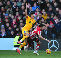 Lincoln City's Bruno Andrade is fouled by Northampton Town's Shay Facey<br /> <br /> Photographer Andrew Vaughan/CameraSport<br /> <br /> The EFL Sky Bet League Two - Lincoln City v Northampton Town - Saturday 9th February 2019 - Sincil Bank - Lincoln<br /> <br /> World Copyright &copy; 2019 CameraSport. All rights reserved. 43 Linden Ave. Countesthorpe. Leicester. England. LE8 5PG - Tel: +44 (0) 116 277 4147 - admin@camerasport.com - www.camerasport.com