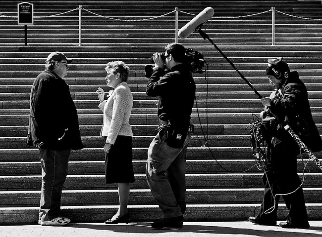 "Michael Moore tapes an interview with Rep. Marcy Kaptur, D-Ohio, for his film ""Capitalism: A Love Story"" on the East Front of the Capitol on March 30, 2009."